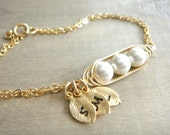 Mini / Tiny Personalized 3 Peas in a Pod Bracelet wrapped in Gold Filled Wire - Choose your Initial and Pearl Color - Mother's Day