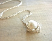 Birdnest Pendant - 1 Pearl Wrapped in Sterling Silver -  mom, mother, kids, children, grandmother, Mother's Day