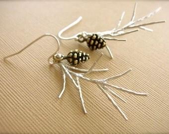 Silver Pine Earrings