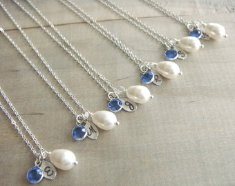 Bridesmaid Gift - 7 Cream or White Pearl Hand Stamped INITIAL and BIRTHSTONE Necklaces in Sterling Silver - choose pearl color - 10% off