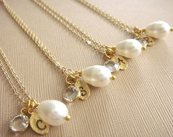 Bridesmaid Gift - 4 Cream or White Pearl Hand Stamped INITIAL and BIRTHSTONE Necklaces in 14K Gold Filled - choose pearl color - 10% off