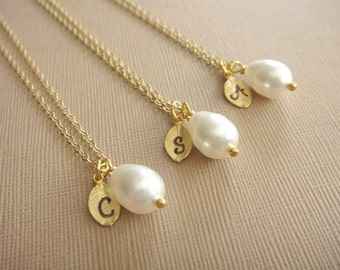 Bridesmaid Gift - 3 Cream or White Pearl Hand Stamped INITIAL Necklaces in 14K Gold Filled - choose your pearl color