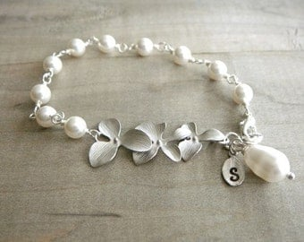 Fancy Personalized Initial Leaf with Silver Orchid and White Teardrop Pearl Bracelet - Bride, Bridal party, Bridesmaid
