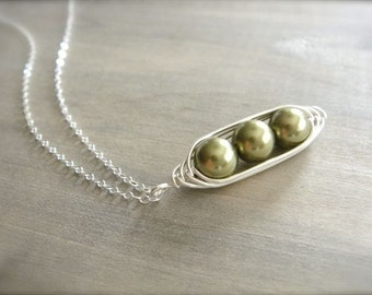 3 Peas in a Pod Necklace - Pearls Wrapped in Sterling Silver - Choose Your PEARL COLOR - Mom, Mum, Mother, Mother's Day