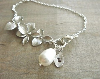 Personalized Initial Leaf with Silver Orchid and White Teardrop Pearl Bracelet - Wedding, Bride, Bridal, Bridesmaid Gift