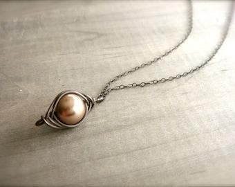 Mocha Pearl Herringbone Necklace