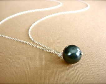 Simple Blue Tahitian Pearl Necklace