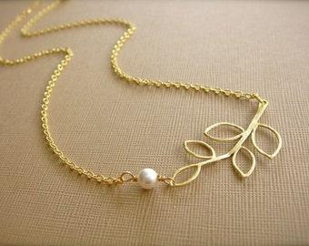 Gold Branch Necklace - Bride, Bridal party, Bridesmaid