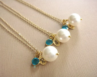 Bridesmaid Gift - 3 Cream or White Pearl Hand Stamped INITIAL and BIRTHSTONE Necklaces in 14K Gold Filled - choose pearl color