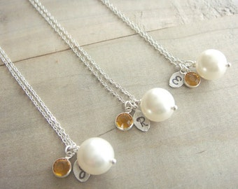 Bridesmaid Gift - 3 Cream or White Pearl Hand Stamped Initial and Birthstone Necklaces in Sterling Silver - choose your pearl color