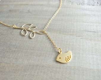 Little Bird and Branch Lariat Necklace in Gold - Spotted Sparrow - Gold Filled Chain - Mom, Mother, Mother's Day