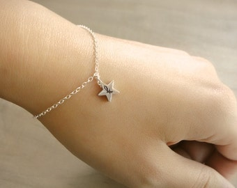 Custom Initial Silver Star Bracelet - Hand stamped double sided - Buy 2 Get 1 FREE - Bride, Bridal, Bridesmaid gift, Mother's Day