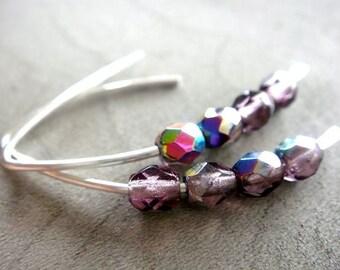 Plums - Purple Czech Glass Earrings