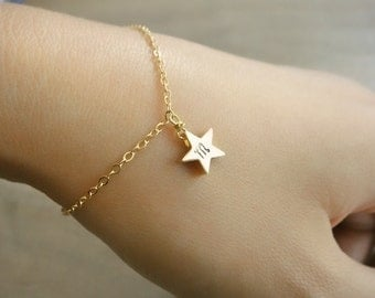 Custom Initial Gold Star Bracelet - Hand stamped double sided - Buy 2 Get 1 Free - Bride, Bridal, Bridesmaid gift, Mother's Day