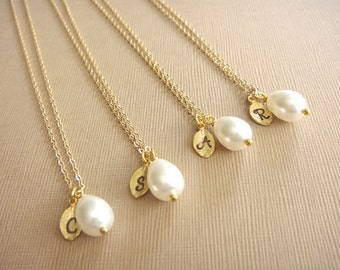Bridesmaid Gift - 4 Cream or White Pearl Hand Stamped INITIAL Necklaces in 14K Gold Filled - choose pearl color - 10% off