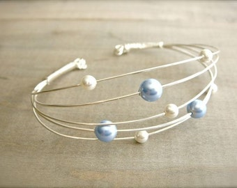 Clustered Blue and White Pearls - Bracelet - Wedding, Bride, Bridal, Bridesmaid, Mother's Day