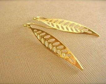 Slender Gold Leaf Earrings