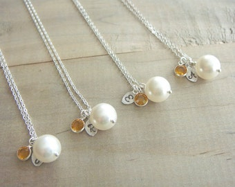Bridesmaid Gift - 4 Cream or White Pearl Hand Stamped INITIAL and BIRTHSTONE Necklaces in Sterling Silver - choose pearl color - 10% off