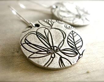Etched Flower Earrings