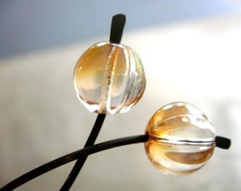 Cafe au Lait - Beige Czech Glass Earrings