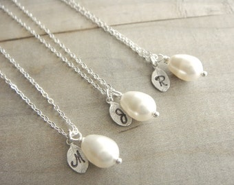 Bridesmaid Gift - 3 Cream or White Pearl Hand Stamped INITIAL Necklaces in Sterling Silver - choose pearl color