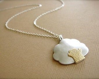 Fluffy Tree - Gold and Silver Necklace