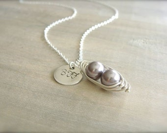Personalized 2 Peas in a Pod - Mauve Pearls Wrapped in Sterling Silver with Silver Disk - Best Friend, BFF, Friend, Mother's Day