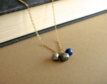 Freshwater Pearl Trio on Gold - Trio in Blue
