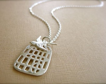 Don't Fly Away - Silver Birdcage Necklace