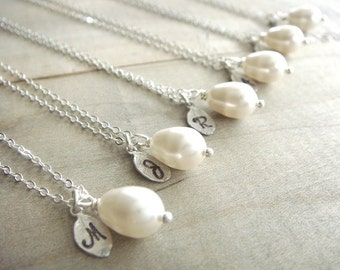 Bridesmaid Gift - 7 Cream or White Pearl Hand Stamped Initial Necklaces in Sterling Silver - choose your pearl color - 10% off