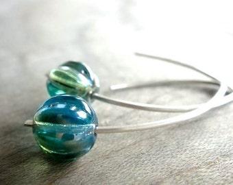 My Blue Heaven - Blue Czech Glass Bead Earrings