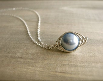 Blue Pearl Herringbone Necklace