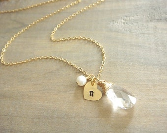 Personalized Swarovski Crystal Necklace with Gold Filled Heart Tag and Freshwater Pearl - Bride, Bridal Party, Bridesmaid