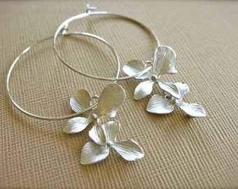 Orchid Hoops in Silver