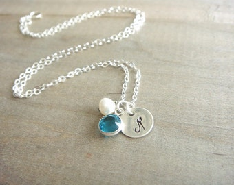 Personalized Sterling SIlver Disk Necklace with Birthstone Crystal and Freshwater Pearl with Sterling Silver Disk