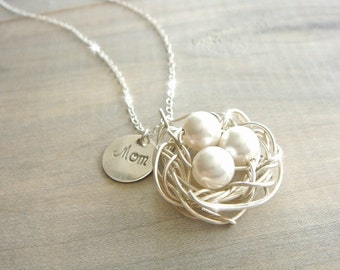 Mom's Birdnest Pendant - 3 Pearls Wrapped in Sterling Silver - Choose your PEARL COLOR - mom, grandmother, kids, children, Mother's Day