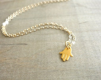 Tiny Gold Hamsa Necklace - Gold Vermeil Hamsa Hand on 14K Gold Filled Chain