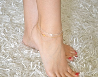 Sideways Cross Anklet Mini / Tiny - 24K GOLD VERMEIL - Ankle Bracelet, Celebrity bracelet, Kelly Ripa, Taylor Jacobson, Religious