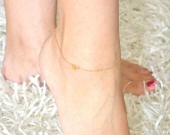 Bow Anklet - Mini / Tiny 24K Gold Vermeil Bow - Ankel Bracelet, Wedding, Bride, Bridal, Bridesmaid Gift, Bridal order - Tie the knot