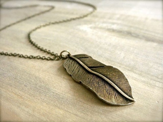 Brass Feather Necklace - Long 28 inch chain