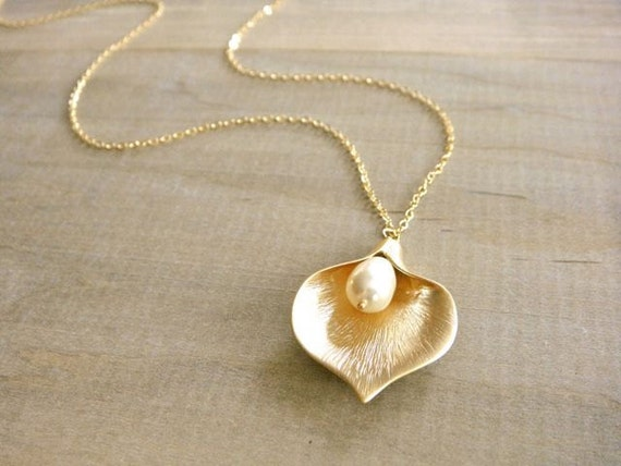 Gold Calla Lilly Necklace - Wedding, Bride, Bridal, Bridesmaid, Mother's Day