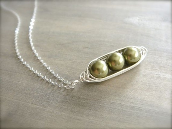 3 peas in a pod necklace pearls wrapped in sterling by