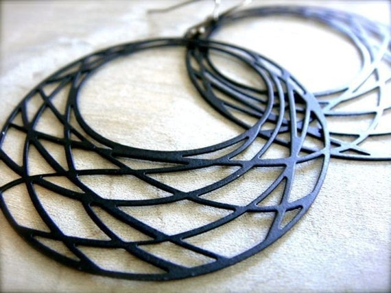 Black Net Earring