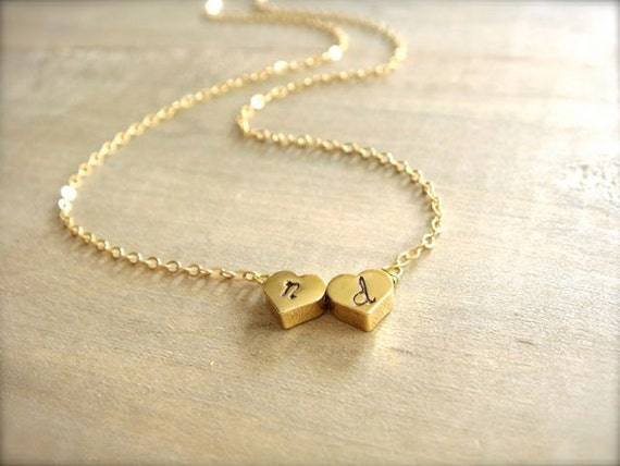 Two Heart Initial Necklace in Gold - REVERSIBLE - Bride, Bridal, Bridesmaid gift, Wedding, Mother's Day, Anniversary