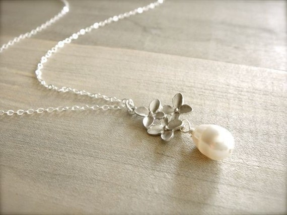 Cherry Blossom Necklace in White Gold - Bride, Bridal party, Bridesmaid, Wedding, Mom, Mother's Day, Gift