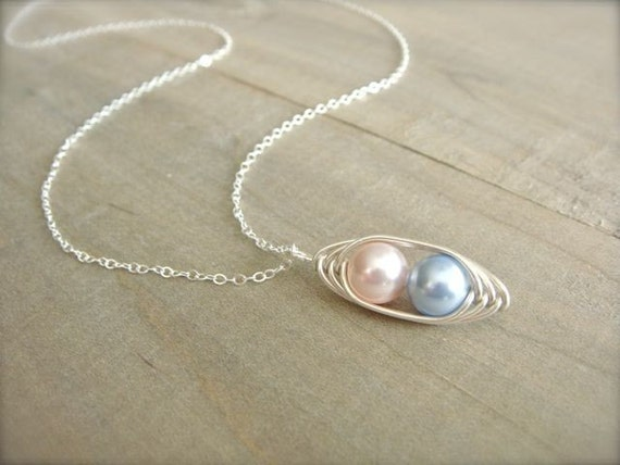 2 Peas in a Pod - Pink and Blue Pearl Wrapped in Sterling Silver - Mom, Mum, Mother, Mother's Day