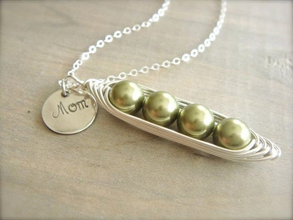 Mom's 4 Peas in a Pod Necklace - Pearls Wrapped in Sterling Silver with Personalized Stamp - Choose Your PEARL COLOR - Mother's Day