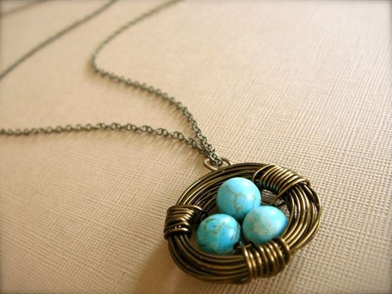 Robin's Nest - Brass Wire Necklace with Chinese Turquoise Beads - Mom, Mum, Mother's Day