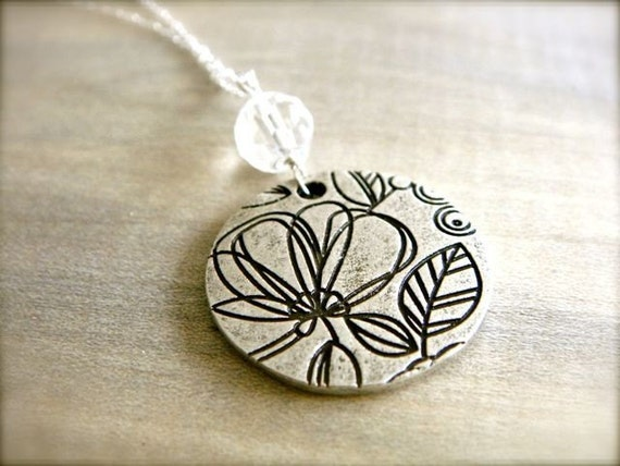 """Etched Flower Necklace on 28"""" Sterling Silver Chain"""