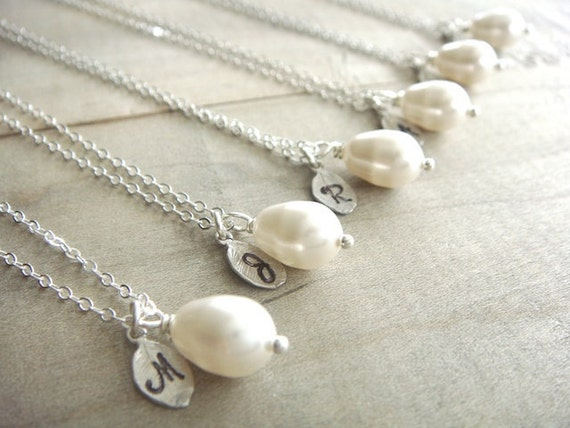 Bridesmaid Gift - 6 Cream or White Pearl Hand Stamped Initial Necklaces in Sterling Silver - choose your pearl color - 10% off